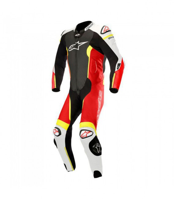 Missile suit 1pc tuta in pelle racing tech-air compatibile nero rosso fluo Alpinestars