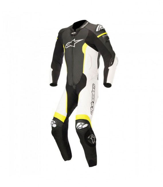 Missile suit 1pc tuta in pelle racing tech-air compatibile nero bianco Alpinestars
