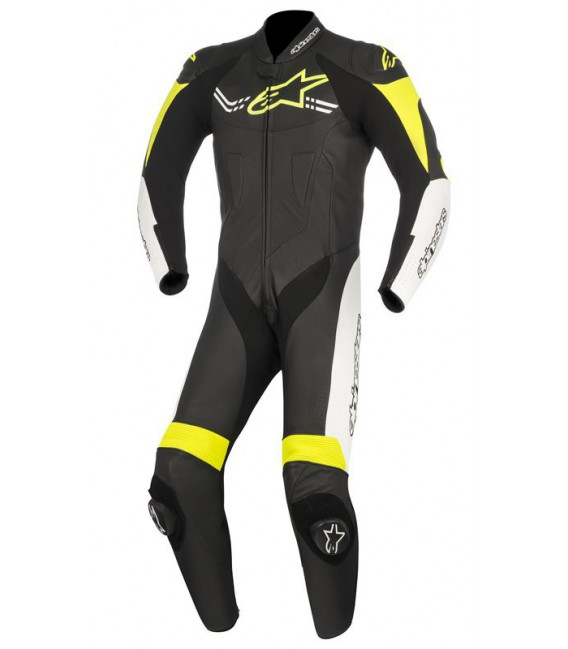 Challenger V2 1pc suit tuta in pelle racing nero giallo fluo Alpinestars