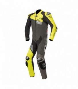 Gp plus venom suit tuta in pelle racing nero giallo fluo Alpinestars