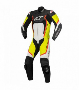 Motegi V2 1pc suit tuta in pelle racing nero giallo fluo Alpinestars