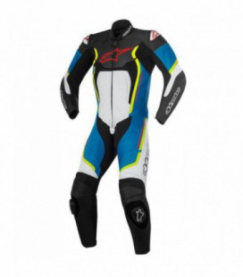 Motegi V2 1pc suit tuta in pelle racing nero azzurro Alpinestars