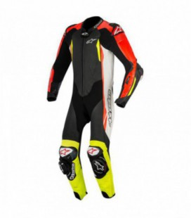 Gp tech V2 1pc suit tech-air compatibile tuta in pelle racing nero rosso fluo Alpinestars