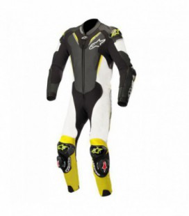 Atem V3 suit 1pc tuta in pelle racing nero giallo fluo Alpinestars
