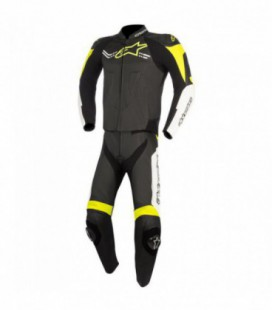 Challenger V2 2pc suit Tuta in pelle nero giallo fluo Alpinestars