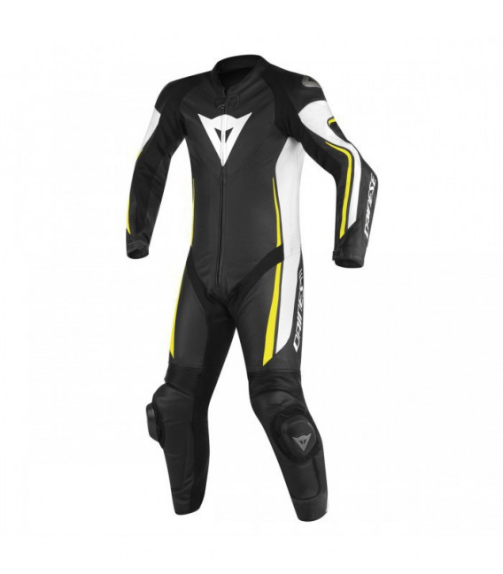 Racing suit Assen 1pc perforated white black yellow fluo Dainese