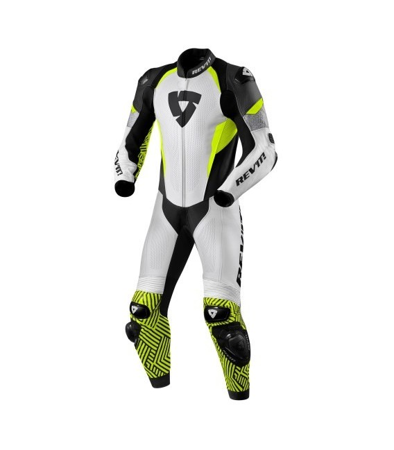 Racing suit 1pcs Triton white yellow fluo Rev'it