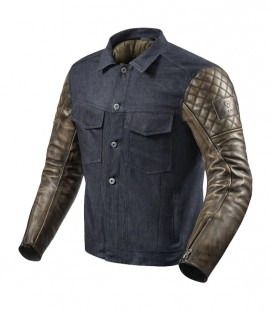 Rev'it | Classic jacket in leather and denim fabric Crossroads Blue-Brown