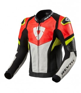Rev'it | Hyperspeed Air perforated leather sports jacket Black-Neon Red