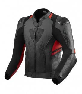 Rev'it | Top-of-the-range sports jacket in Quantum 2 Anthracite-Neon Red leather